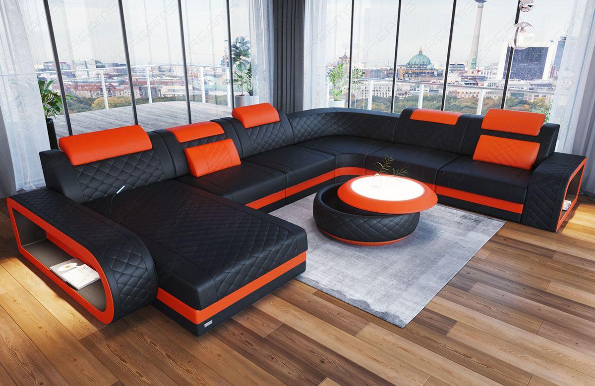 Leather sofa XL shape Chesterfield Ottoman Charlotte LED in orange - black