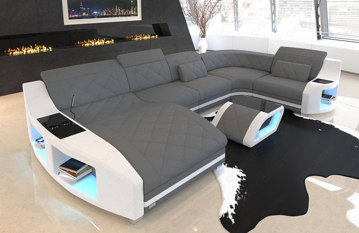 Fabric Sofa Palm Beach U Shape in dark-grey - Mineva15