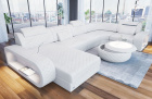Luxury sectional sofa Chesterfield Optik Charlotte U Form in white Leather