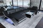 Leather Sectional Sofa Malibu U Shape black-white