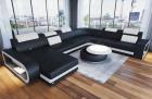 Luxury sectional sofa Chesterfield Optik Charlotte XL in black - white