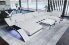 Modern sectional leather sofa Malibu U shape in white-black