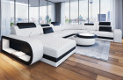 Leather sectional sofa Chesterfield Charlotte XL shape in white - black