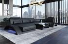 Leather Sectional Sofa Malibu U Shape black