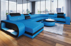 Leather sectional sofa Chesterfield Charlotte XL shape in blue