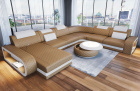 Leather sectional couch Chesterfield Charlotte XL shape in sandbeige