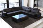 Genuine Leather Sofa San Antonio with LED in black