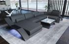 Leather Sectional Sofa Malibu U Shape grey-black