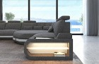 Detail view of the armrest with LED Lights at the Bel Air L shape sofa