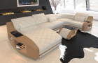 Fabric Sofa Palm Beach U Shape in cream - Mineva1
