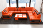 noble Leather Sofa San Antonio With LED Lights orange-black