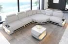 Modern Fabric sectional corner Sofa Bel Air L shape ivory - Hugo2