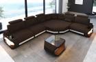 Fabric sectional corner Sofa Bel Air L shape in brown - Hugo8