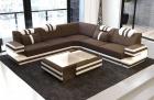 Fabric Sofa San Antonio L shape in brown - Hugo8